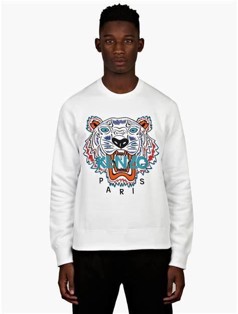 Hnm Sweatshirt With Printed Design White kenzo mens white tiger print sweatshirt in white for