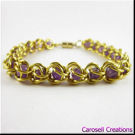captured bead chainmaille captured bead chain maille bracelet gold amethyst by