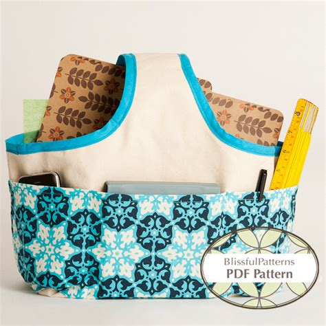 pattern sewing basket fabric handle basket pdf sewing pattern two sizes instant