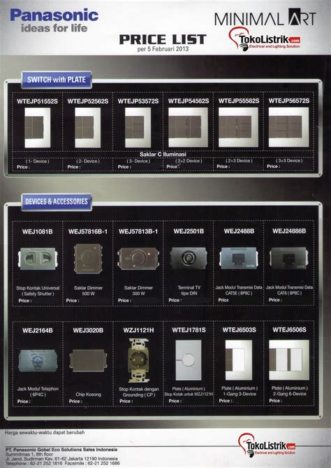 Saklar Panasonic Jakarta lu hemat energi catalog electric plugs switches