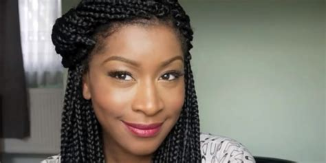 photos on how to dress braids using black temporary hair dye on box braids hair