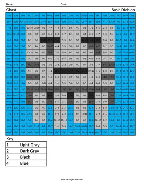 minecraft math coloring page ghast basic division coloring squared