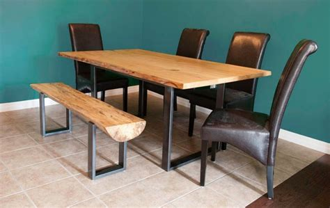Modern Dining Table With Bench Elm Dining Table With Steel