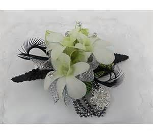 black and white corsage karaboo ribbons bows
