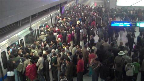 jan  delhi metro crowd     east youtube