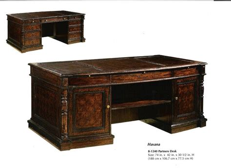 Partner Desk Office Furniture Partner Desks For Home Office Antique Finish Partners Desk With Brown Leather Top Three