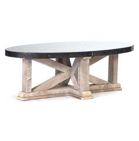 Zinc Top Coffee Table Albertine Zinc Top Solid White Washed Wood Oval Coffee Table Kathy Kuo Home