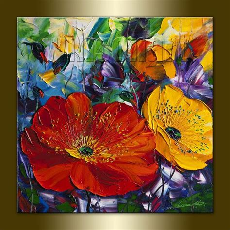 the modern flower painter poppy poppies floral canvas modern flower oil painting textured palette knife original art 16x16