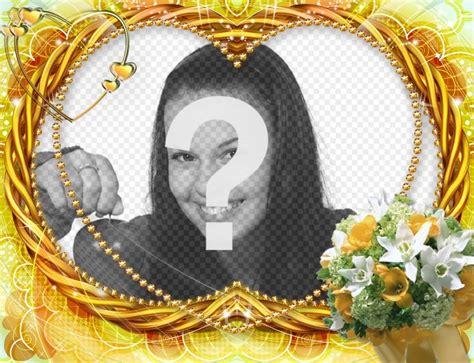 cornice a forma di cuore cornice foto a forma di cuore con fiori fotoeffetti