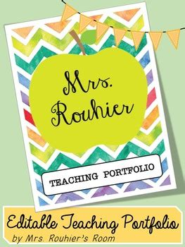 Editable Teaching Portfolio Template Colorful Chevron By Mrs Rouhier S Room Teaching Portfolio Template Free