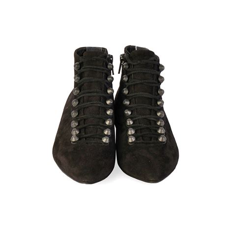 balenciaga suede point toe lace up ankle boots black s 37 4 luxity