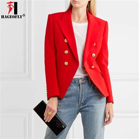 Reds Winter Blazer Blazer Korea hageofly autumn winter blazers office jacket coat casual work breasted