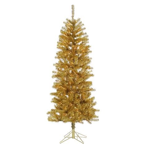 trim a home 174 6 5 pre lit chagne gold pencil tree