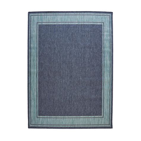 Hton Bay Blue Aqua Border Flat Woven Weave 5 Ft 3 In Hton Bay Outdoor Rugs