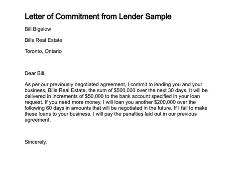 Financial Commitment Letter Letter Of Commitment