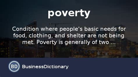 Brief Word Definition What Is Poverty Definition And Meaning Businessdictionary
