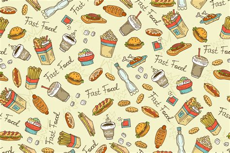 food pattern tumblr pattern with hand drawn fast food patterns on creative