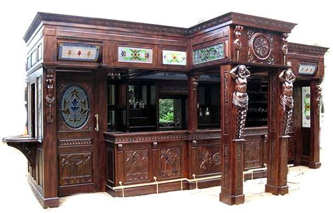 Home Bar Glass 25ft Solid Mahogany Carved Canopy Home Pub Bar W Rails