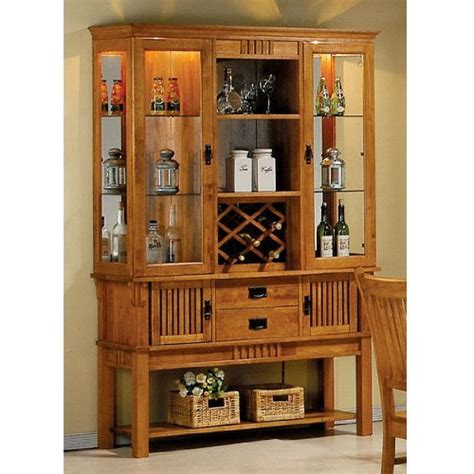 buffet hutch cabinet rustic wine racks grand sales coaster meadowbrook buffet and hutch china cabinet in warm medium