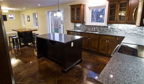 Concrete Kitchen Floor Stained Concrete Floors Traditional Kitchen Other Metro By Millroi Construction Services
