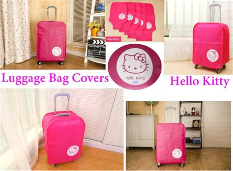 Kain Kanvas Motif Hello jual luggage cover sarung pelindung koper kain kanvas