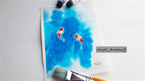 watercolor tubes tutorial how to super easy paint koi fish with watercolor by saifi