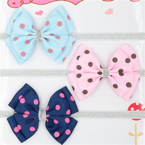 Handmade Baby Hair Bands - ᓂ12 color new baby hair ᐃ bow bow flower headband dots இ