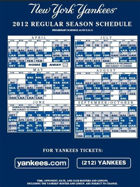 Yankees Schedule 2018 Printable