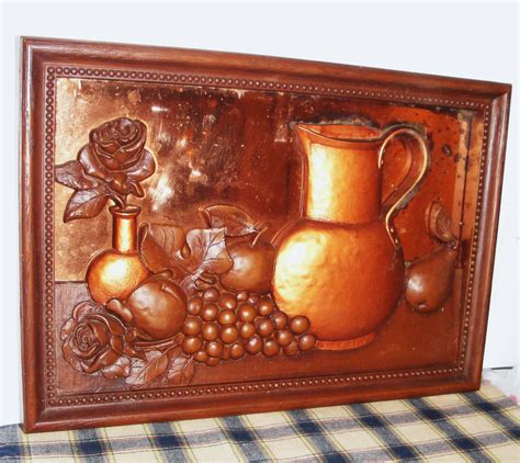 copper decorations retro copper 3d framed art kitchen decor vintage by