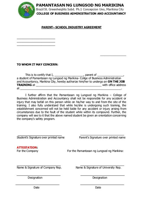Exle Of Parents Consent Letter For Ojt Ojt Forms2013