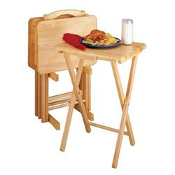 winsome wood 5 rectangular tv tray table set atg