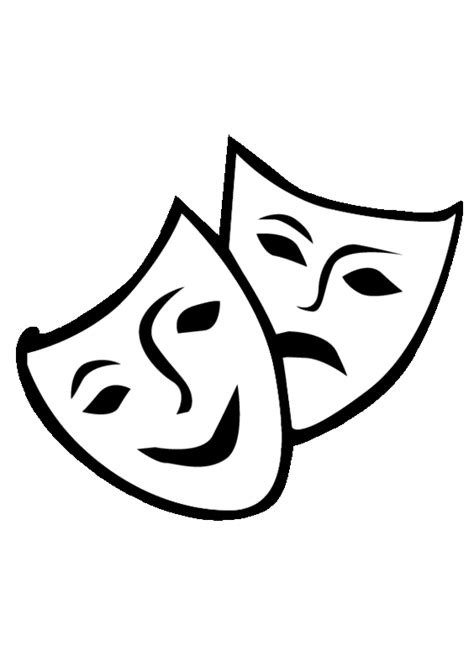 Theatre Mask Outline by Theater Mask Vector Free Clipart Best