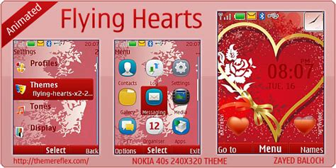 nokia x2 heart themes flying hearts theme for nokia x2 240 215 320 themereflex