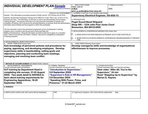 army self development plan it resume cover letter sle