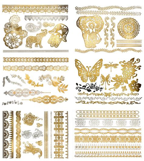 henna metallic temporary tattoo henna metallic temporary tattoos terratattoos