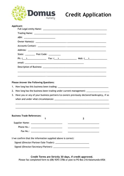 free business credit application form template gse
