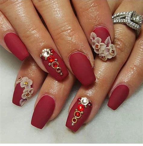 imagenes de uñas rojas y negras u 241 as decoradas en rojo con flores