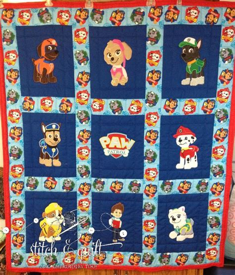 Paw Quilt Ideas by One Of A Paw Patrol Inspired Quilted Quilt By