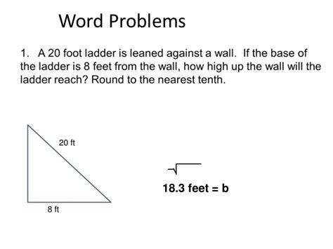 Pythagorean Theorem Word Problems Worksheet by Pythagorean Theorem Word Problems Worksheet Www Pixshark