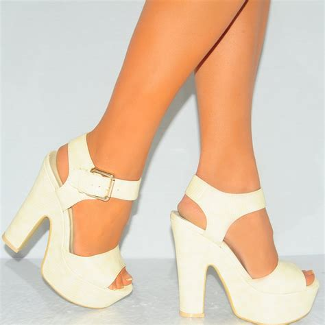 dc high heel shoes womens beige faux leather high heel platforms