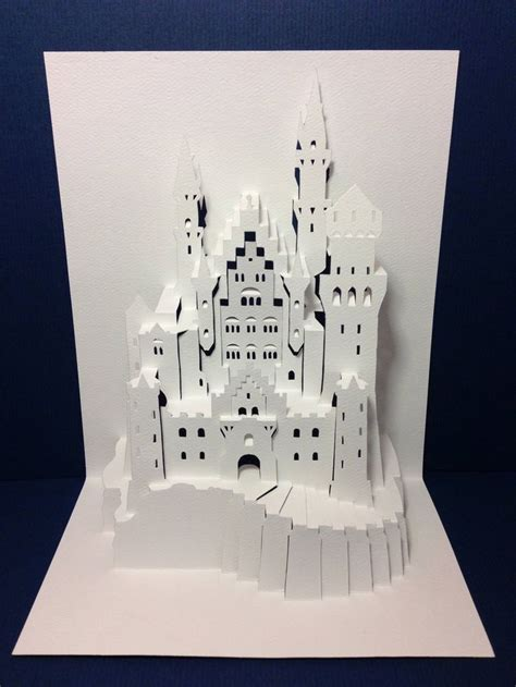 castle pop up card template popup origamic architecture neuschwanstein castle