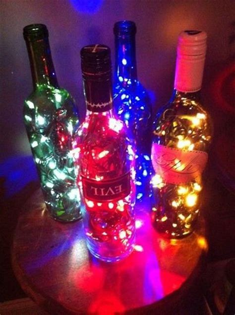 wine bottle l made with christmas lights drill a hole