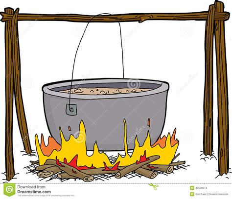 kessel der suppe im lagerfeuer stock abbildung bild