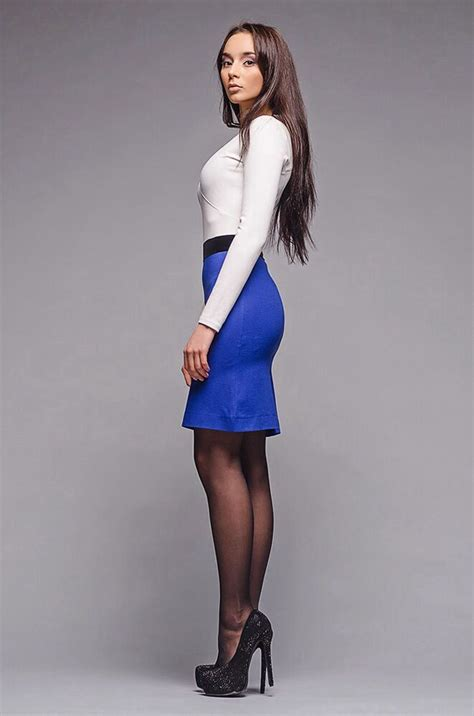 tight blue pencil skirt white top sheer black