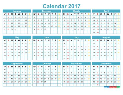 E Calendar 2017 Printable Calendar 2017 With Week Numbers Template Blue