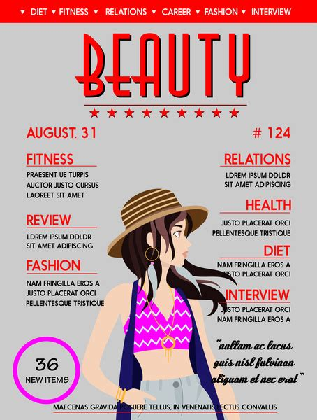 magazine cover design vector free download beauty magazine cover vector design with fashionable lady