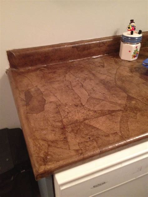 Paper Countertops by Brown Paper Bag Countertop Stained Diy