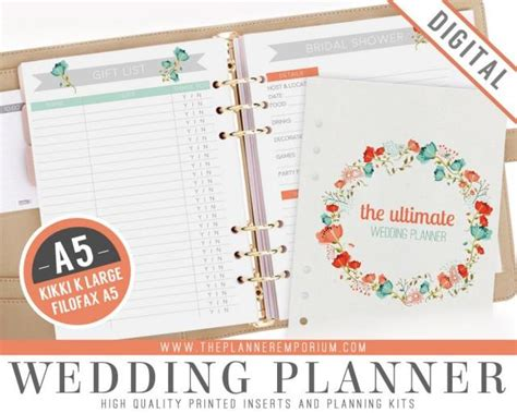 printable wedding notebook organizer a5 ultimate wedding planner organizer kit instant