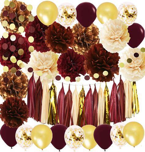 Wine Burgundy Champagne Gold Bridal Shower Decorations