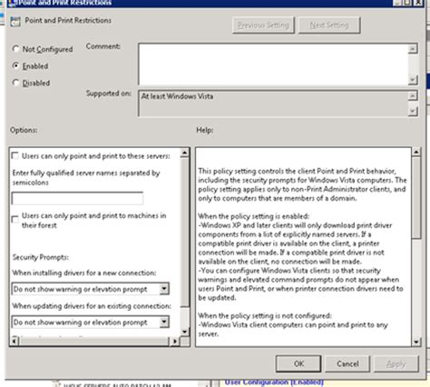 user configuration administrative templates panel display deploying printers with policy new signature